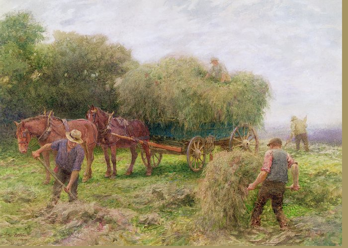 Horses Greeting Card featuring the painting Haymaking by Arthur Hopkins