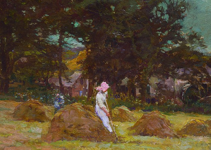 Haymaking Greeting Card featuring the painting Haymaking by Elizabeth Adela Stanhope Forbes