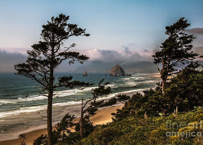 Haystack Rock Greeting Card featuring the photograph Haystack Framed by Robert Bales