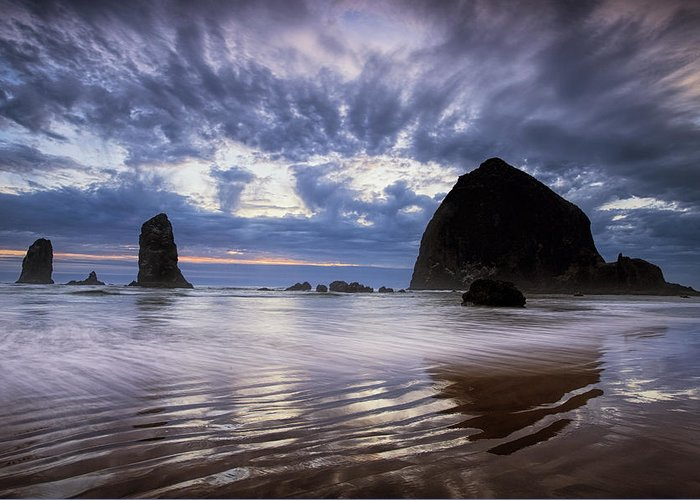 Beach Greeting Card featuring the photograph Haystack Rock At Sunset by Andrew Soundarajan
