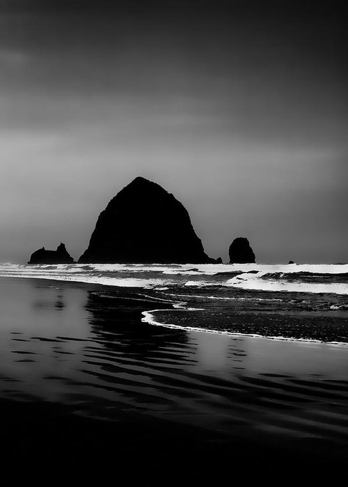Black And White Greeting Card featuring the photograph Haystack Rock On Cannon Beach by David Patterson