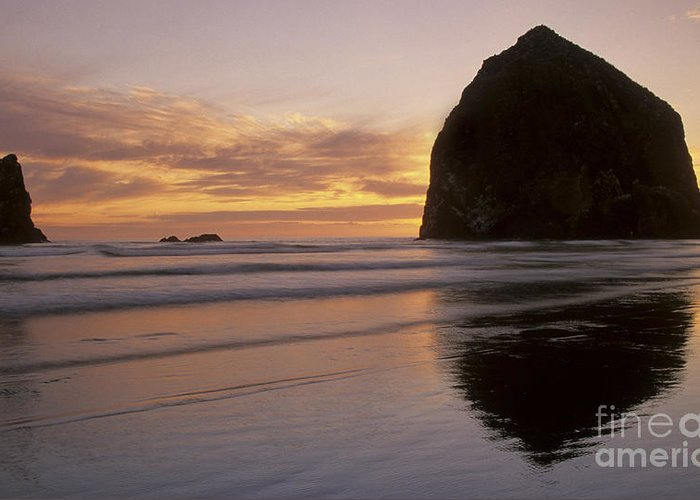 Cannon Beach Greeting Card featuring the photograph Haystack Rock Sunset by Chris Scroggins