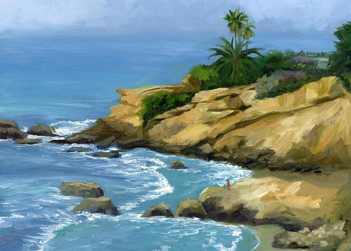 Laguna Beach Greeting Card featuring the painting Hazy Laguna Morning by Alice Leggett