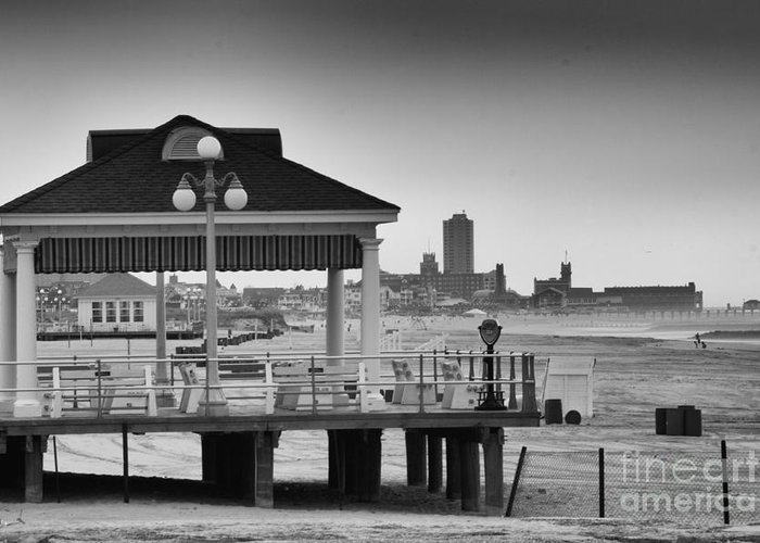 Art Greeting Card featuring the photograph Hdr Beach Boardwalk Photos Pictures Art Sea Ocean Photograph Scenic Landscape Black White by Pictures HDR