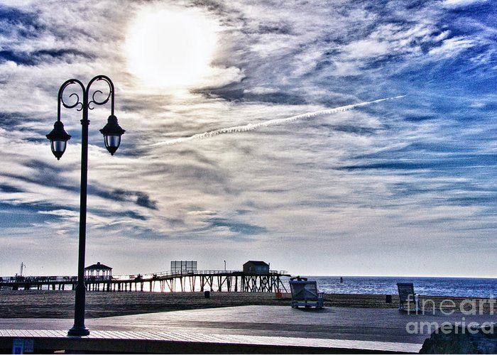 Hdr Greeting Card featuring the photograph Hdr Beachtown Beach Ocean Sand Pier Sunrise Clouds Relaxation Photography Photos Sale Gallery Buy by Pictures HDR