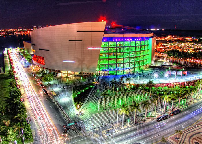 Aaa Greeting Card featuring the photograph Hdr Of American Airlines Arena by Joe Myeress