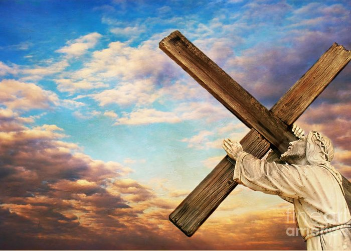 Aged Greeting Card featuring the photograph He Has Risen by Darren Fisher