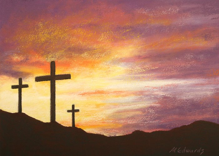 Risen Greeting Card featuring the pastel He Is Risen by Marna Edwards Flavell
