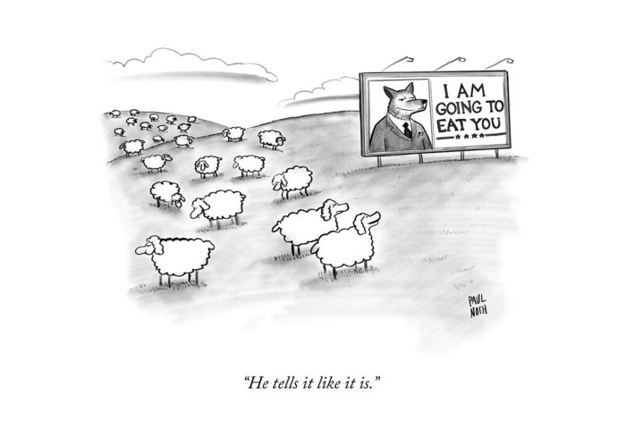 Sheep Greeting Card featuring the drawing He Tells It Like It Is by Paul Noth