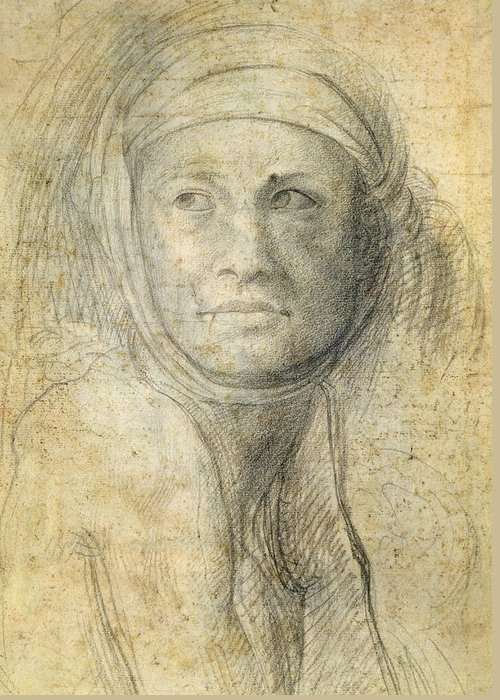 Female Greeting Card featuring the drawing Head Of A Woman by Michelangelo Buonarroti