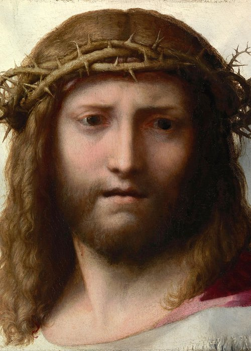 Correggio Greeting Card featuring the painting Head Of Christ by Correggio