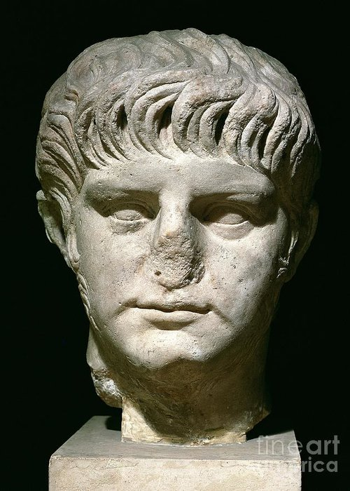 Roman Emperor Greeting Card featuring the sculpture Head Of Nero by Anonymous