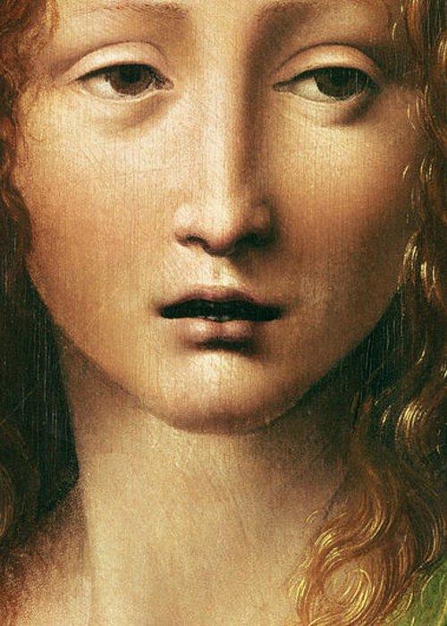 Leonardo Greeting Card featuring the painting Head Of The Savior by Leonardo Da Vinci