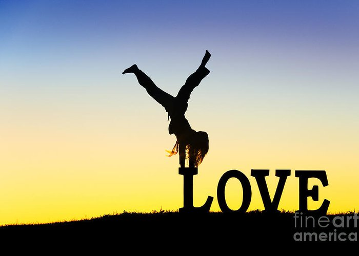 Silhouette Greeting Card featuring the photograph Head Over Heels In Love by Tim Gainey