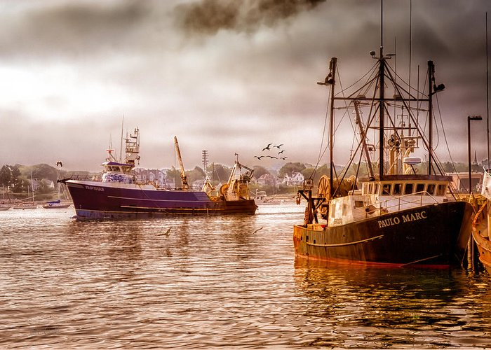 Seascape.dreamscape Greeting Card featuring the photograph Heading Out by Bob Orsillo