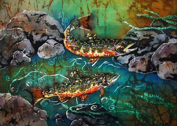 Trout Greeting Card featuring the painting Heading Upstream by Sue Duda