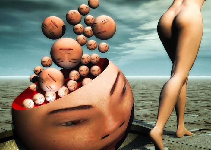 Surreal Greeting Card featuring the digital art Heads by Bob Orsillo
