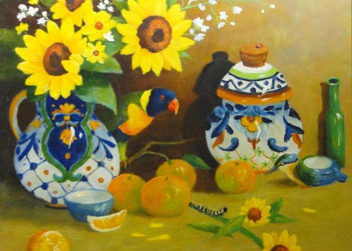 Still Life Greeting Card featuring the painting Heads Or Tails by Carol Reynolds