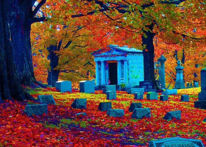 Graveyard Greeting Card featuring the digital art Headstone Fall by Joseph Wiegand