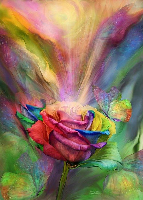 Rose Greeting Card featuring the mixed media Healing Rose by Carol Cavalaris