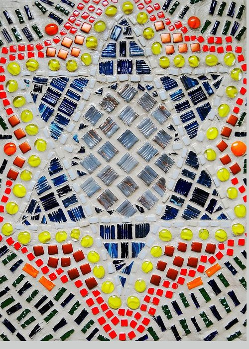 Mosaic Greeting Card featuring the relief Healing Star by Lisa Brandel