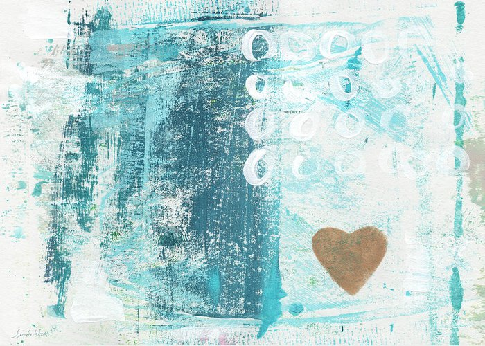 Abstract Art Greeting Card featuring the painting Heart in the Sand- abstract art by Linda Woods