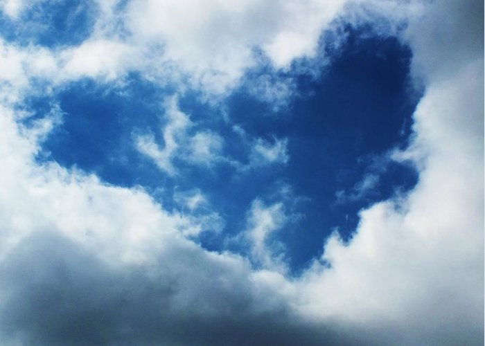 Cloud Greeting Card featuring the photograph Heart In The Sky by Anna Villarreal Garbis