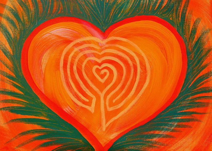 Heart Greeting Card featuring the painting Heart Labyrinth by Lucy H Pearce