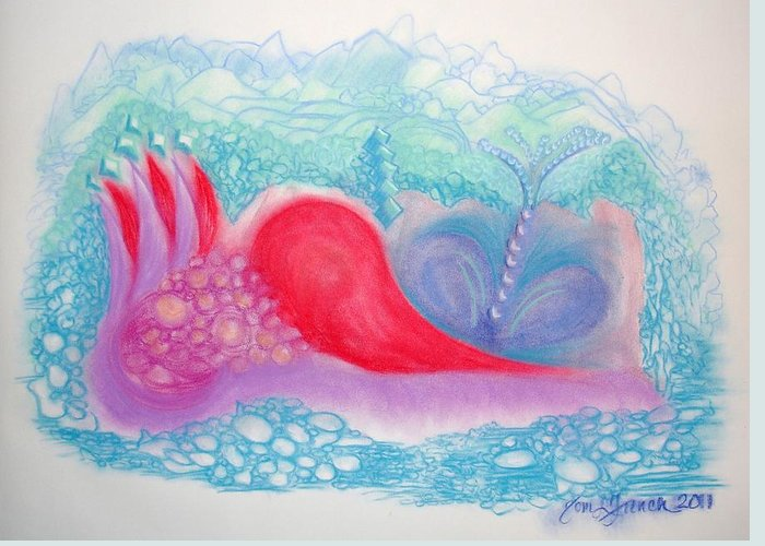 Heart Land Greeting Card featuring the drawing Heart Land by Mademoiselle Francais