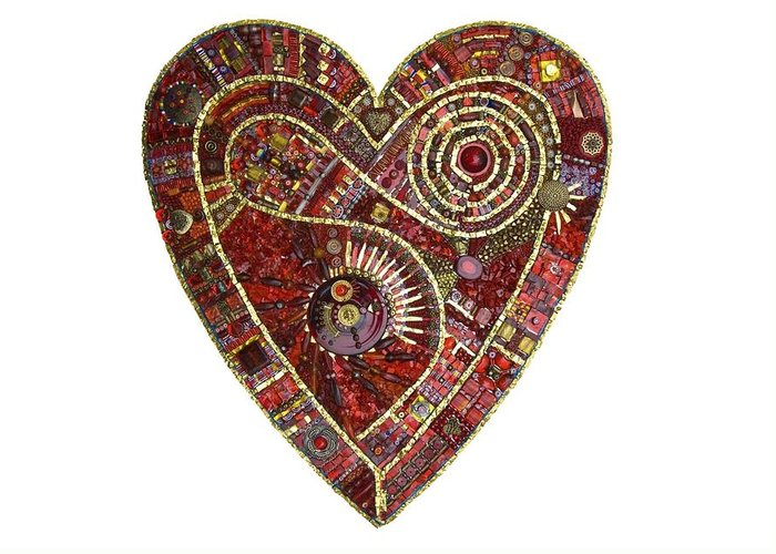 Heart Greeting Card featuring the glass art Heart Of Glass by Genna Wise