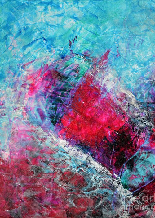 Original Painting Greeting Card featuring the painting Heart On Ice Abstract Blue Magenta 8x10 Painting Original Contemporary Modern Heart Painting by Belinda Capol
