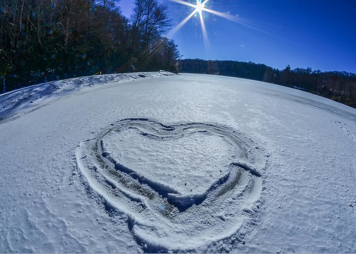 Ice Greeting Card featuring the photograph Heart Outlined On Snow On Topw Of Frozen Lake by Alex Grichenko