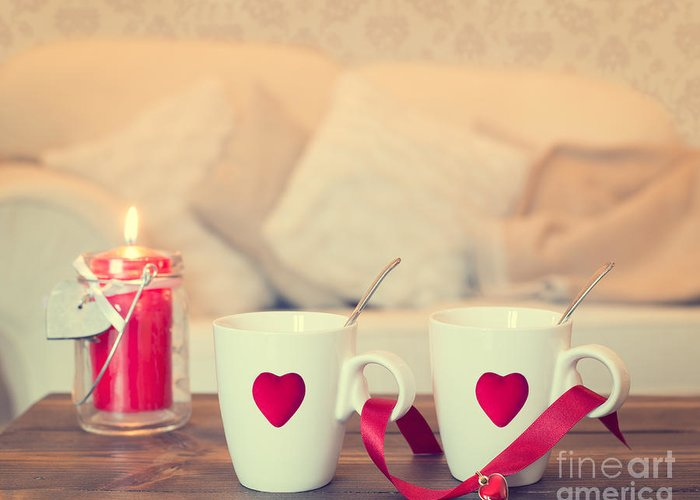 Love Greeting Card featuring the photograph Heart Teacups by Amanda Elwell