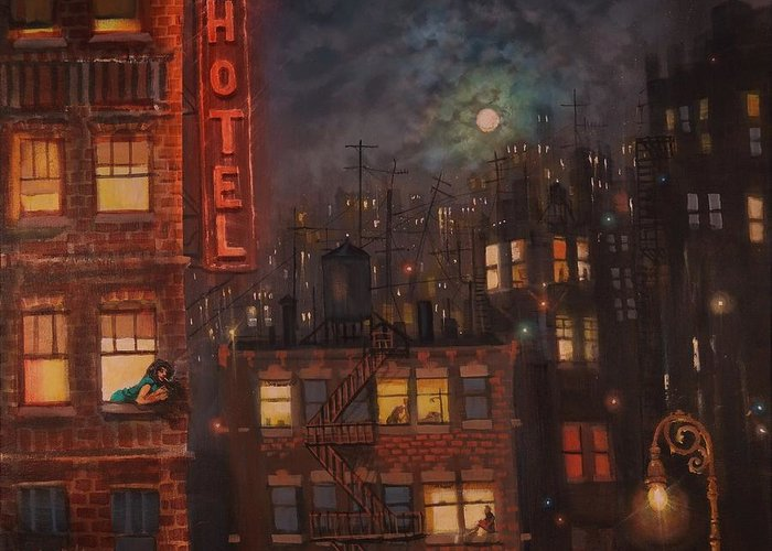 Brooklyn Greeting Card featuring the painting Heartbreak Hotel by Tom Shropshire