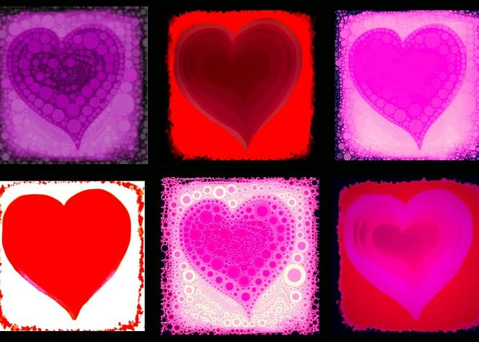 Hear Greeting Card featuring the digital art Hearts by Cindy Edwards