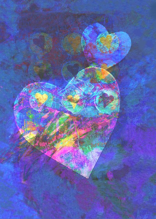 Hear Greeting Card featuring the digital art Hearts On Blue by Ann Powell