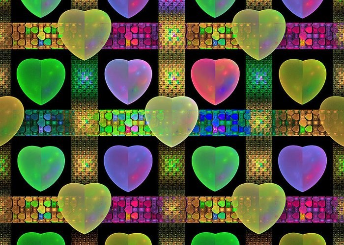 Fractal Greeting Card featuring the digital art Hearts by Sandy Keeton