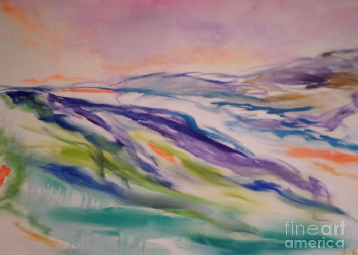 Abstract Landscape Greeting Card featuring the painting heathcliff II by Sharon Worley
