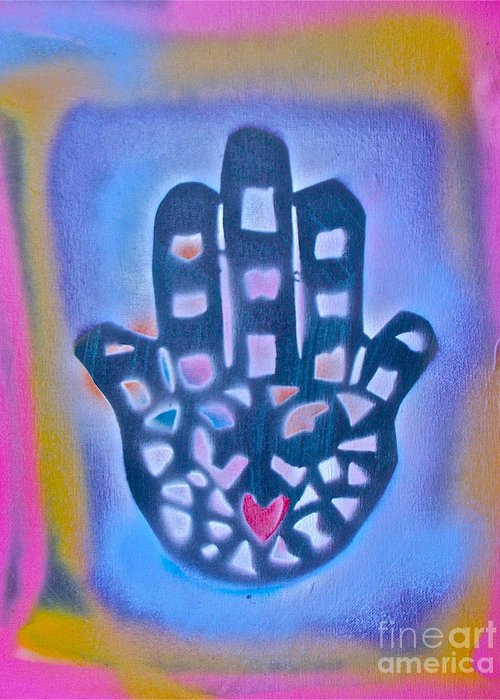 Graffiti Greeting Card featuring the painting Heavenly Hamza 1 by Tony B Conscious