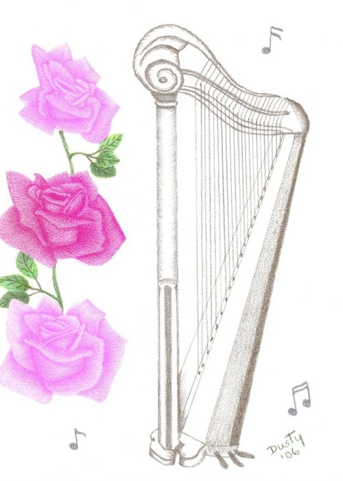 Rose Greeting Card featuring the drawing Heavenly Music by Dusty Reed