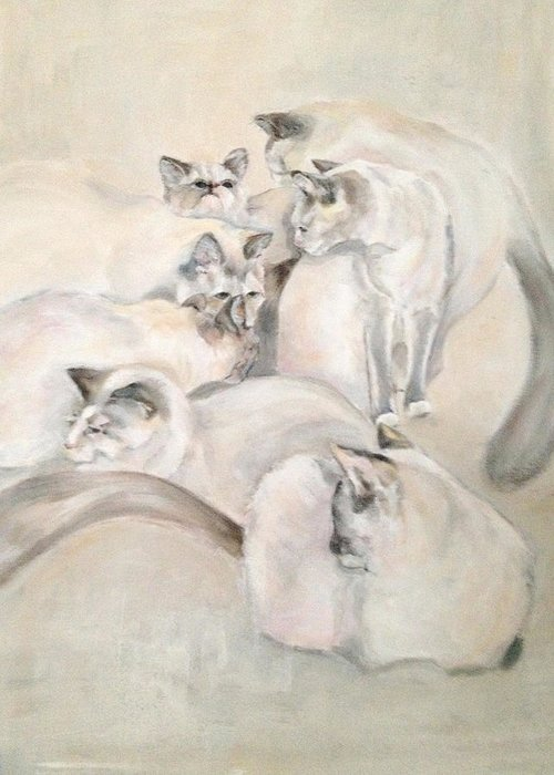 Kitten Greeting Card featuring the painting Heavenly Puffs by Janet Felts