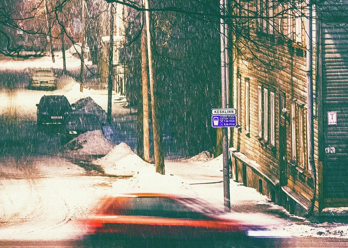 Curve Greeting Card featuring the photograph Heavy Snowfall In Town by Peeterv