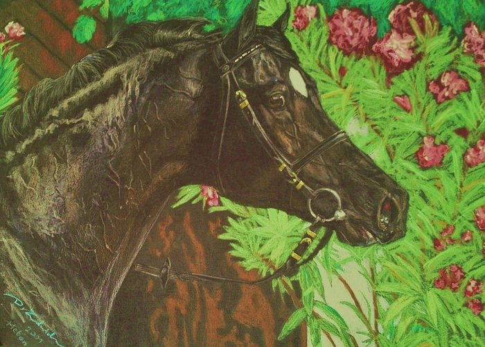 Horse Paintings Greeting Card featuring the painting Heban Sport Horse Stallion by Dorota Zdunska