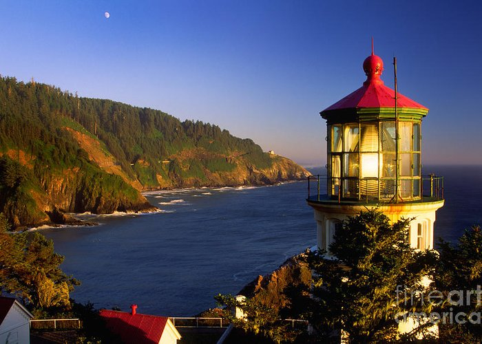 America Greeting Card featuring the photograph Heceta Head Moonrise by Inge Johnsson