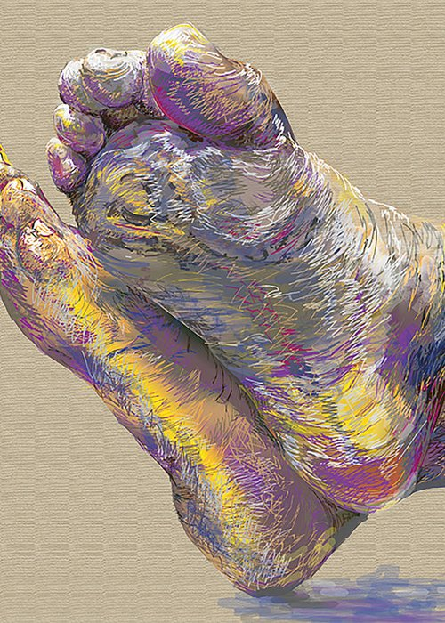 Feet Greeting Card featuring the painting Heels And Toes by Joanne Davies