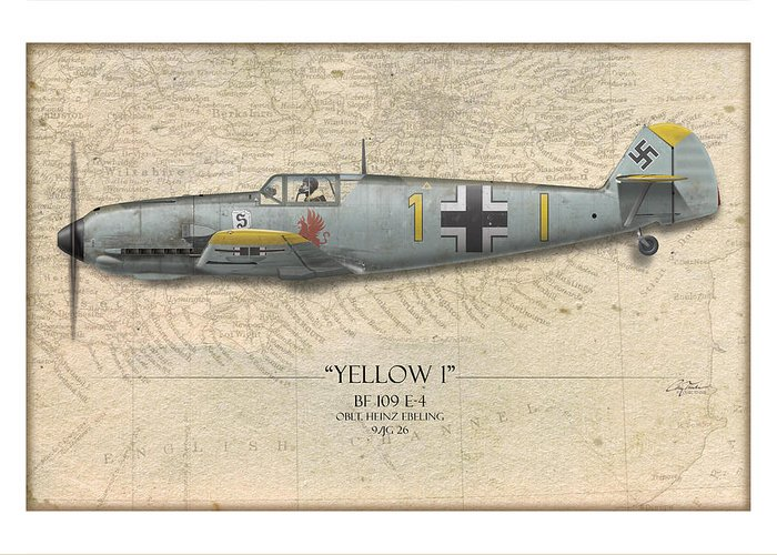 Aviation Greeting Card featuring the painting Heinz Ebeling Messerschmitt Bf-109 - Map Background by Craig Tinder