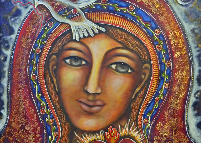Visionary Artist Greeting Card featuring the painting Held In Her Heart by Marie Howell Gallery