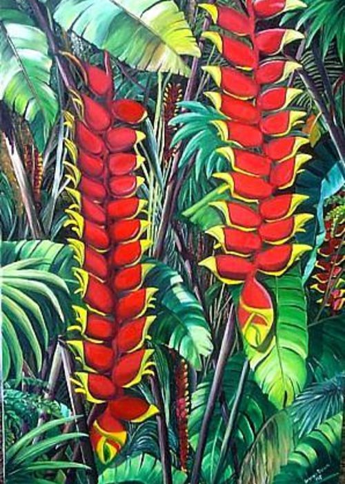 Heliconia Painting Hanging Red Heliconia Tropical Painting Greeting Card featuring the painting Heliconia Rostrata by Karin Dawn Kelshall- Best