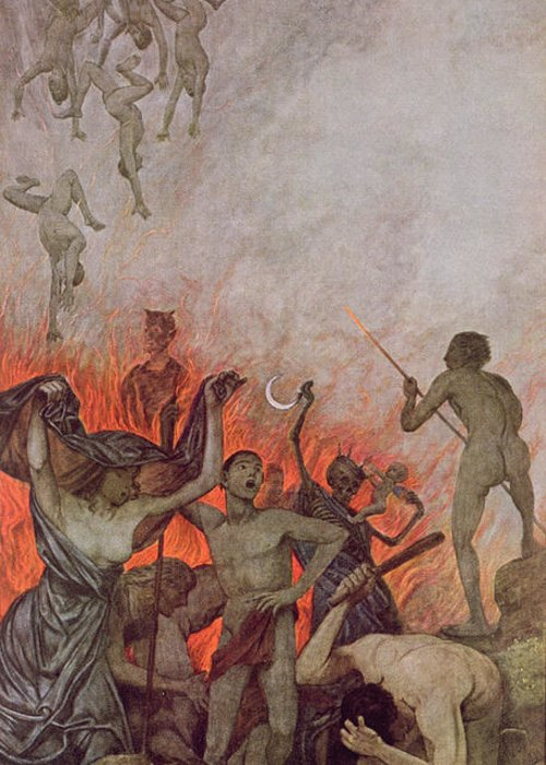 The Damned Greeting Card featuring the painting Hell by Hans Thoma