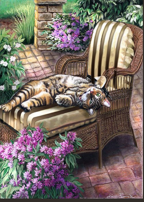 Pet Painting Greeting Card featuring the painting Hello From A Kitty by Regina Femrite